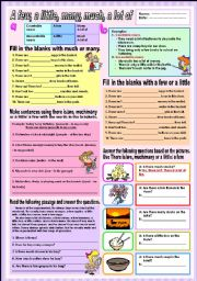 English Worksheets: A few, a little, many, much and a lot of