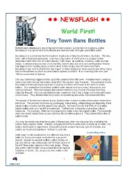 English Worksheet: WORLD FIRST: Tiny Town Bans Bottled Water