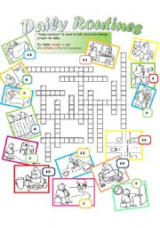 English Worksheets: DAILY ROUTINE Crossword. Students identify the pictures with the correct action. {i.e. daily routine} and write it in the CW