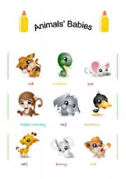 English Worksheet: Animals� babies ( 3 PAGES/ PRACTISE INCLUDED)