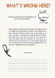 what s wrong here error correction esl worksheet by xana f. Black Bedroom Furniture Sets. Home Design Ideas