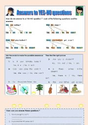 English Worksheet: ANSWERS TO YES-NO QUESTIONS