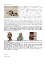 English worksheet: Waris Dirie Reading Comprehension 1