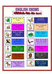 English Worksheet: ENGLISH IDIOMS WITH ANIMAL!