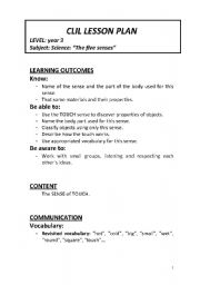 English Worksheet: CLIL Lesson Plan for the TOUCH sense