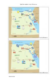 English Worksheet: Spot the differences: weather map, Egypt