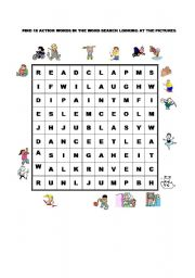 English Worksheets: ACTIONS WORDSEARCH
