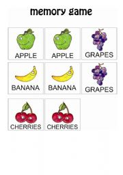 English worksheet: Fruits Memory Game 1