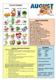 English Worksheet: August worksheet 8/12 (read, talk and discuss)