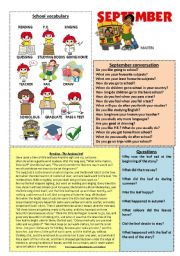 English Worksheet: September workshet 9/12 (talk, read and discuss)