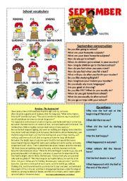 English Worksheets: September workshet 9/12 (talk, read and discuss)