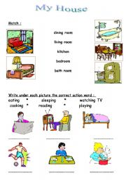 English Worksheets: house- grammer actions -shaps - color