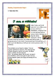English Worksheets: Reading comprehension about Despicable Me -PART 1