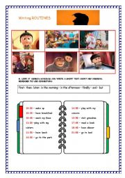 English Worksheet: despicable me writing: routines- part 2
