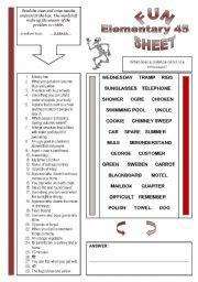 English Worksheets: Fun Sheet Elementary 45