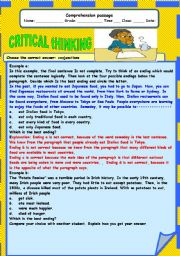 English Worksheets: cRITICAL THINKING