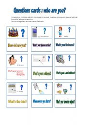 English Worksheets: questions cards