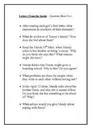 English Worksheets: Letters From The Inside question sheet 1 - John Marsden