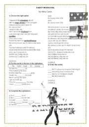 English Worksheet: Song Miley cyrus Party in the USA