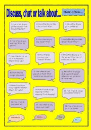 English Worksheet: Discuss, chat or talk about - How often