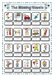 English Worksheet: ACTION VERBS # 2 - THE MISSING VOWELS - # 5