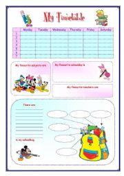English Worksheet: My English Portfolio 10 (My timetable)