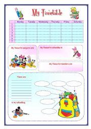 English Worksheet: My English Portfolio 10 (My timetable)