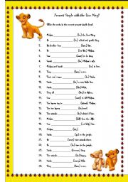 English Worksheets: Present Simple with the Lion King