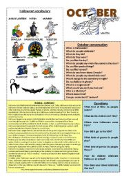 English Worksheets: October worksheet 10/12 (read, discuss and answer)