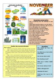 English Worksheet: November worksheet 11/12 (read, talk and discuss)