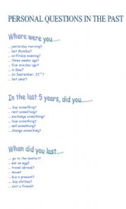 English Worksheets: LET�S TALK! Personal questions in the past