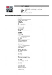 English Worksheet: present simple drills. listening to the song NO DOUBT DON´T SPEAK