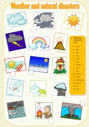 English Worksheet: weather and natural disasters matching