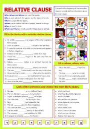 English Worksheets: Relative Clause