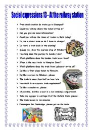 English Worksheets: Social expressions 13 - at the railway station