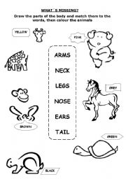 English Worksheets: PARTS OF THE BODY - WHAT�S MISSING?