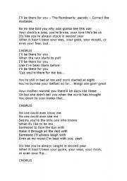 English worksheet: I´ll be there for you - The Rembrandts