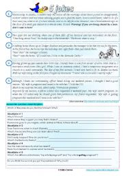 English Worksheets: 5 jokes - reading comprehension, writing & test