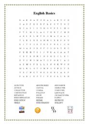 English Basics Wordsearch and Cryptogram