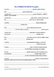 English Worksheets Where Im From Poem Template