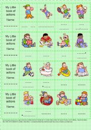 English Worksheets: My little book of actions (BOYS)