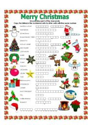 English Worksheet: Double puzzle (Christmas)