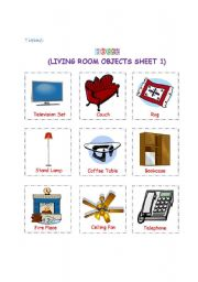 English Worksheet: Living room objects 1