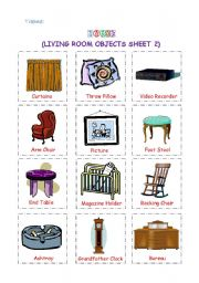 English Worksheet: Living Room Objects 2