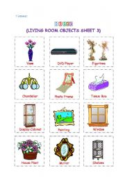 English Worksheet: Living Room Objects 3
