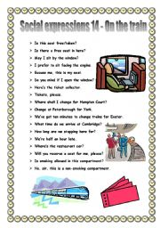 English Worksheet: Social expressions 14 - on the train