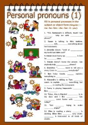 English Worksheet: Personal pronouns 1