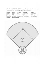 English Worksheet: Baseball Diamond Vocabulary