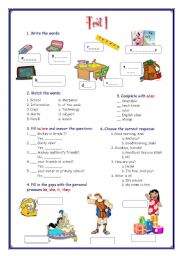 English Worksheet: My English Portfolio 11 (Test 1) + Separators