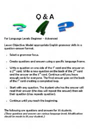 English Worksheets: Questions and Answers